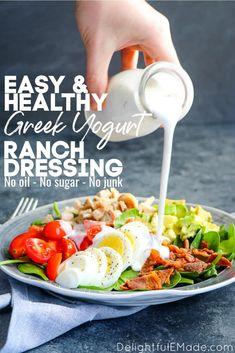 Greek Yogurt Salad Dressing, Yogurt Salad Dressings, Healthy Ranch Dressing, Greek Yogurt Ranch, Homemade Greek Yogurt, Greek Yogurt Recipes, Salad Dressing Recipes, Healthy Homemade Ranch, Healthy Ranch Recipe
