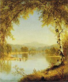 Summer Idyll, huile sur toile de Sanford Robinson Gifford (1823-1880, United States)