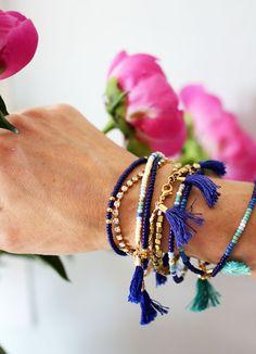 Gold Beaded Bracelet, Boho Bracelet, Gold Bracelet This listing is for one bracelet with two cobalt blue tassels. Details: - gold plated trade