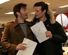 Matt Smith and David Tennant at the Doctor Who 50th anniversary special read-through