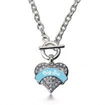 Light Blue Big Sis Pave Heart Toggle Necklace