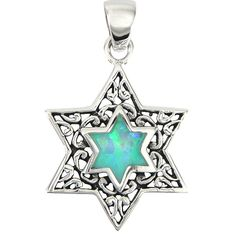 Magen David Opal Necklace Silver from http://www.hibuki.com