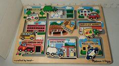 Melissa & Doug Wooden Vehicles Maze Puzzle Ages 3+ Used Childrens Toy #MelissaDoug