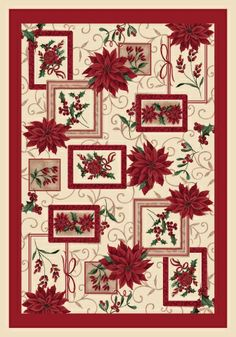 Milliken Holiday Winter Bouquet 00016 Poinsettia Rug