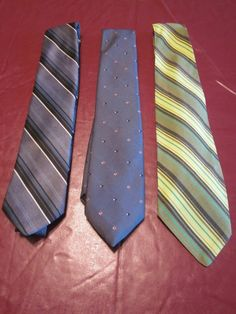 Three (3) Vintage Mens' Ties  Wide Neckties Polyester Stripes and Dots #NeckTie