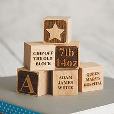 Personalised Baby Keepsake Building Block by Sophia Victoria Joy, the perfect gift for Explore more unique gifts in our curated marketplace. Wood Burning Crafts, Wood Burning Art, Wood Crafts, First Birthday Gifts, First Birthdays, Cnc Router, Baby Building Blocks, Baby Blocks, 3d Laser Printer