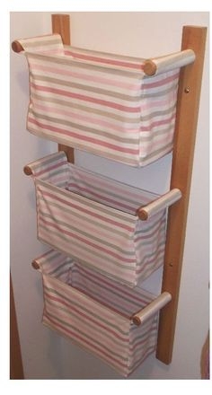 SHIPPING INCLUDED / Wall hanging storage - with 3 baskets - IKEA Emmie Rand in pink. $110.00, via Etsy.