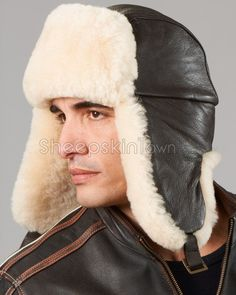 Shearling Sheepskin Leather Aviator Hat - b52 Classic-Strong and Durable  Trooper Hat 08185666d0af