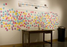 Plains Art Museum: exhibition feedback on post-it notes and ballots for people to vote (thumbs up or thumbs down)
