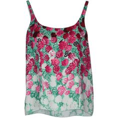 Marc Jacobs Top ($195) ❤ liked on Polyvore featuring tops, shirts, tank tops, blusas, t-shirts, light green, floral tank, green shirt, green sleeveless shirt and flower print shirt