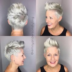 One of my absolute favorite gals was inspired by @chicover50 to go even shorter and play around with a #pixiefauxhawk. So adorable on her. Her roots weren't ready for bleaching yet so we just did a toner refresh using the @kenraprofessional 9vm and 10v equal parts. I ❤️ my job. #emilyandersonstyling