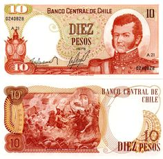 1975 Chilean 10-peso banknote, featuring general Bernardo O'Higgins on the obverse side, and the Battle of Rancagua on the reverse side.