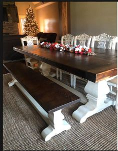 """3"""" thick table top, pear pedestal trestle bases 0 this custom reclaimed barn wood table and bench are style standouts! Custom handcrafted using reclaimed barn wood, in the heart of Amish country, Lancaster County, Pennsylvania - www.braunfarmtables.com"""