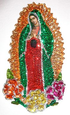 Sequin Guadalupe applique Extra Large 3 flower Virgin Mary Sequin Patch Our lady of Guadalupe for sewing crafting artwork / Bead applique Blessed Mother Mary, Blessed Virgin Mary, Virgin Mary Art, Sequin Crafts, Beautiful Dark Art, Sequin Patch, Holy Mary, Mexican Folk Art, Sacred Art