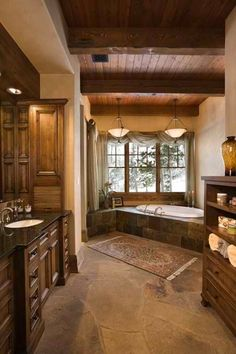 Rustic master bath, with flagstone floor