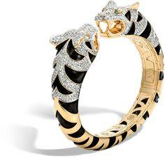 Legends Macan Double Head Kick Cuff in 18K Gold, Diamonds