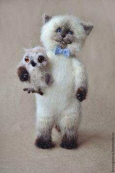 Вязаный СИАМСКИЙ котик - белый,кот,котик,котенок,котик тедди,вязаная игрушка