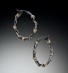 """Medium Black and Gold Wrapped Hoops""  Gold & Silver Earrings  Created by Suzanne Q Evon - Oxidized Sterling Hoop earrings with 10kt gold wire wrap.  $88.00"