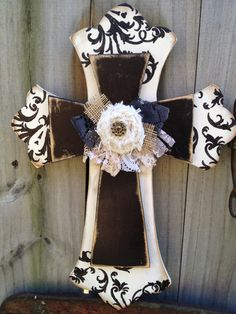 Ivory and Black Embellished Stacked Cross Home Decor. $25.00, via Etsy.