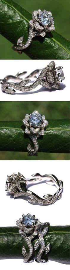 Rose Milgrain Diamond Engagement Ring
