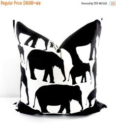 SALE Elephant Pillow cover. Black and White Pillow Cover. Cotton. Sham Pillow case.Select your size.