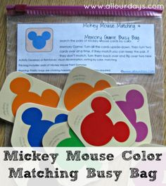 Mickey Mouse Color Matching Busy Bag (31 Days of Busy Bags & Quiet Time Activities @ AllOurDays.com)