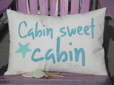 Outdoor pillow CABIN SWEET CABIN beach saltwater by crabbychris, $38.00