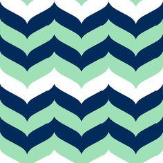 Wave Mint/Navy modern-fabric