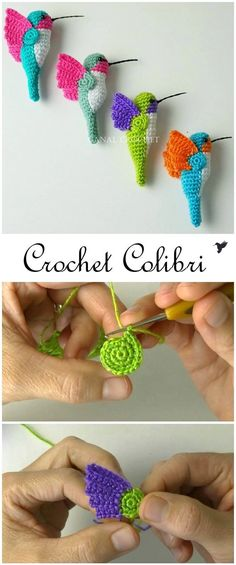 Colibri Amigurumi Crochet TutorialYou are in the right place about bird vector Here we offer you the most beautiful pictures about the bird of prey you are looking for. When you examine the Colibri Amigurumi Crochet Tutorial part of the picture you Crochet Bird Patterns, Crochet Birds, Crochet Amigurumi Free Patterns, Cute Crochet, Crochet Crafts, Crochet Dolls, Crochet Flowers, Crochet Projects, Knit Crochet