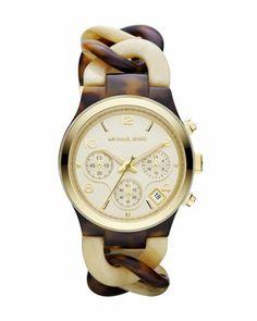 Michael Kors Mid-Size Cream/Horn Acetate Runway Watch - Michael Kors