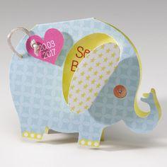 Faire-part de naissance - Elephant  Faire-part de naissance de papier nacré avec ruban et application
