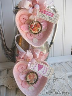 Pink Shabby Altered Heart Tart Tins Ornament with glittered buttons