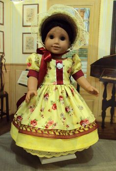"REDUCED Historical 1800's American Girl ""Sping in Bloom"" Ensemble for Marie Grace, Cecile, Caroline, Abby or other 18 inch dolls"