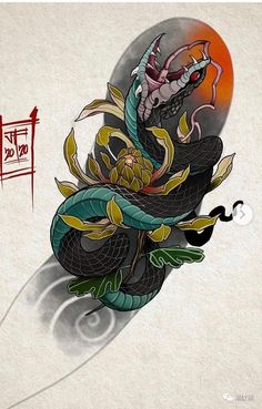 Bio Organic Tattoo, Japanese Snake Tattoo, Hanya Tattoo, Japan Tattoo, Korean Art, Irezumi, Asian Style, Oriental, Tattoos
