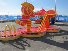 McDonald's Hockey Player Sculpture in the Athletes' Village at the 2014 #Sochi Winter Olympic Games #mcdonalds #olympics