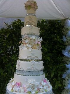 Bling And Sugar Flower Cake