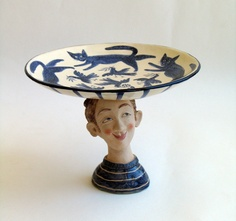 'Cat Plate Boy' by Helen Kemp.  Handcrafted and handpainted ceramic sculpture. £235