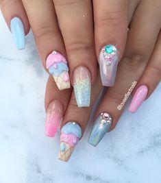 A post on gyaru nails/nail art inspiration! Fabulous Nails, Gorgeous Nails, Pretty Nails, Fancy Nails, Love Nails, Unicorn Nail Art, Ice Cream Nails, 3d Nail Designs, Kawaii Nails