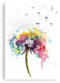 'Dandelion abstract flowers' Canvas Print by Natalja Picugina - Aquarell Malen Dandelion Painting, Flower Painting Canvas, Flower Canvas, Canvas Art, Canvas Prints, Watercolor Dandelion Tattoo, Abstract Canvas, Abstract Flowers, Abstract Watercolor