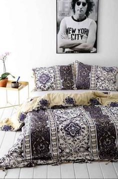 Urban-Outfitters-Full-Queen-Reversible-Magical-Thinking-Purple-Boho-Stripe-Duvet
