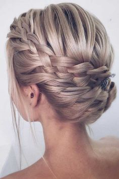 64 Chic updo hairstyles for wedding and any occasion - updo hairstyle for date night , wedding updo , bridal updo hairstyle Box Braids Hairstyles, Down Hairstyles, Wedding Hairstyles, Office Hairstyles, Anime Hairstyles, Stylish Hairstyles, Hairstyles Videos, School Hairstyles, Updos With Braids