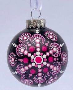 Excited to share this item from my shop: Breast cancer awareness pink & white dot mandala snowflake ball ornament original art Dot Art Painting, Mandala Painting, Stone Painting, Ball Ornaments, Christmas Ornaments, Xmas, Painting Snowflakes, Christmas Bazaar Ideas, Christmas Mandala