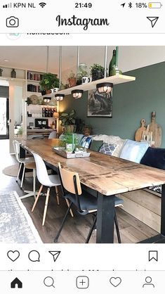 Could we do the table against a wall like this and have a living space too? Home sweet home Sweet Home, Dining Room Design, Dining Room Table, Table Lamps, Dining Rooms, Dining Table Lighting, Dining Area, Living Room Decor, Living Spaces