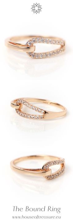 The Bound Ring is double-plated with 18k rose gold and sprinkled with zirconia crystals. It's a delicate minimalistic jewellery piece featuring a knot theme and a slightly BDSM inspiration that beckons to you. Read the story of the Bound ring at houseoftreasure.eu.