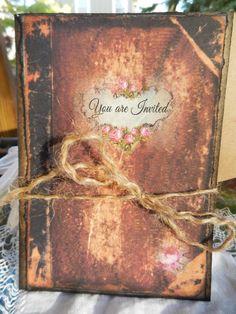 Wedding Invitation Suite, Faux leather Book invitation, vintage inspired SAMPLE high end custom