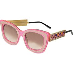 Shourouk Gimme A Kiss Sunglasses ($488) ❤ liked on Polyvore featuring accessories, eyewear, sunglasses, pink, cutler and gross, cutler and gross eyewear, cutler and gross glasses, cutler and gross sunglasses and pink glasses