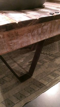 Dark rusty steel and distressed table top Entryway Tables, Steel, Dark, Wood, Furniture, Home Decor, Woodwind Instrument, Timber Wood, Wood Planks