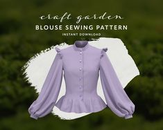 Col Mandarin, Mandarin Collar, Victorian Shirt, Pdf Sewing Patterns, Blouse Sewing Pattern, Sewing Ideas, Sewing Tutorials, Sewing Projects, Ruffles