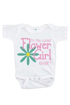 Custom Party Shop Girl's Cutest Flower Girl Wedding T-shirt. Girl's Flower Girl Outfit in Wedding short sleeve baby girl outfit. Newborn Outfits, Toddler Outfits, Kids Outfits, Wedding With Kids, Gifts For Wedding Party, Baby Girl Accessories, Fashion Accessories, Baby Girl One Pieces, Birthday Party Outfits