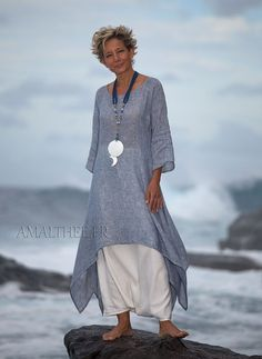 blue linen gauze tunic with white sarouel skirt